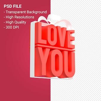 절연 활과 리본 3d 디자인으로 당신을 사랑합니다