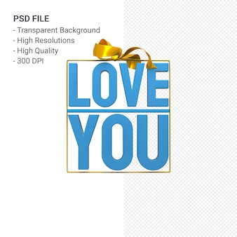Love you with bow and ribbon 3d design isolated