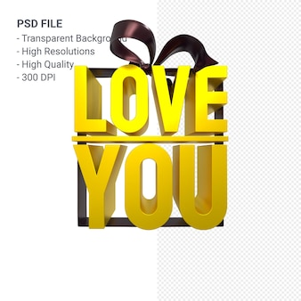 Love you with bow and ribbon 3d design