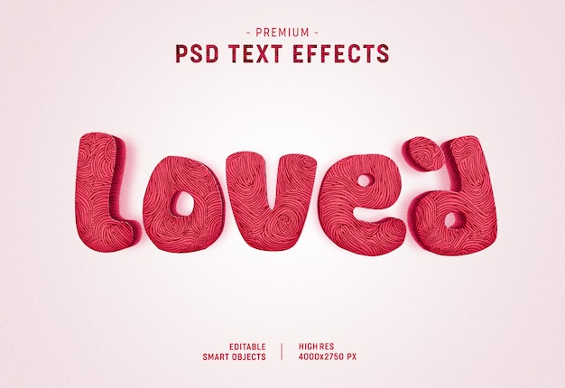 Loved valentine text style effect on white