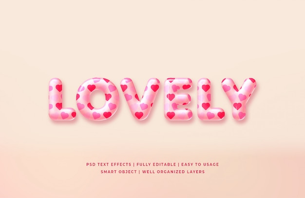 Lovely 3d text style