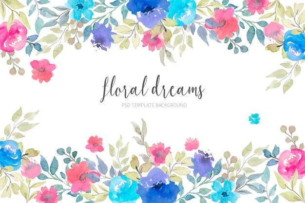 수채화 꽃과 사랑스러운 꽃 배경