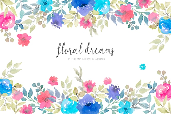 Lovely floral background with watercolor flowers