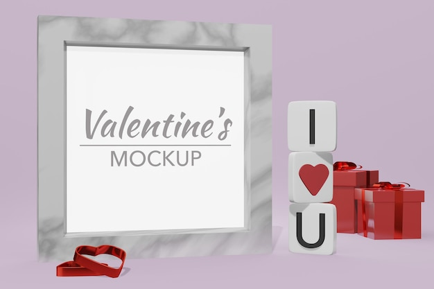 Lovely happy valentines day background concept in 3d model frame mockup