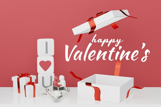 Lovely happy valentines day background concept in 3d model mockup