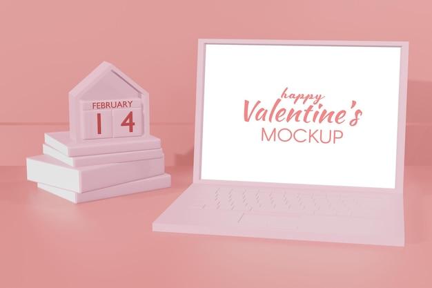 3d 모델의 사랑스러운 해피 발렌타인 데이 노트북 템플릿