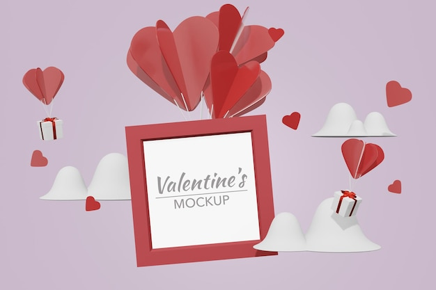 Lovely happy valentines day room with frame in 3d model mockup