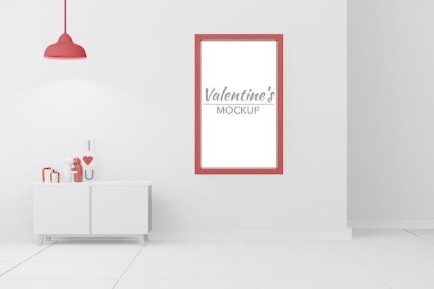 3dモデルのモックアップのフレームと素敵な幸せなバレンタインデーの部屋