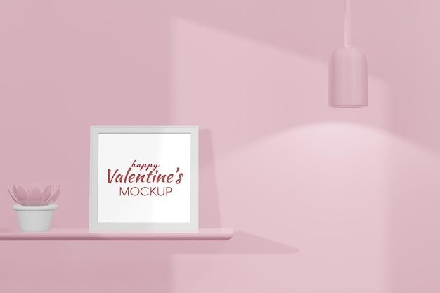 Lovely happy valentines day room with frame mockup in 3d rendering