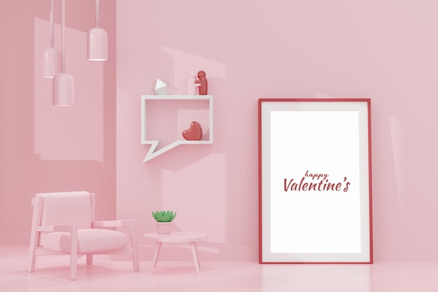 3dレンダリングのフレームモックアップで素敵な幸せなバレンタインデーの部屋