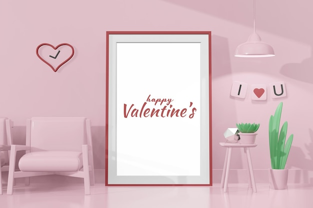 Lovely happy valentines day room with frame template in 3d model mockup