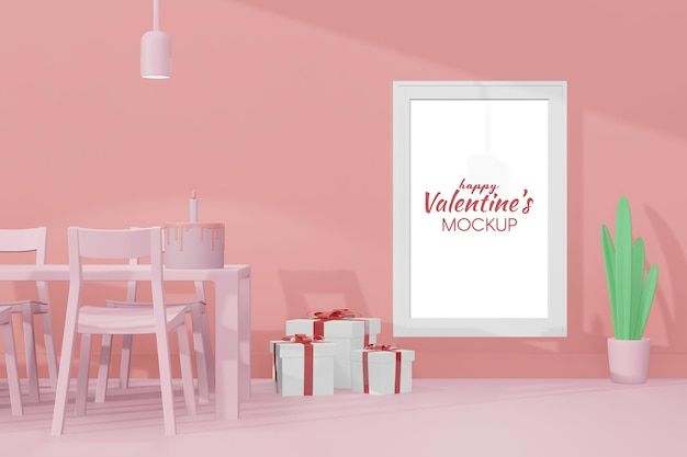 Lovely happy valentines day room with frame template in 3d model