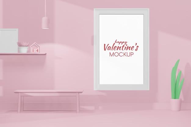 3dモデルのフレームテンプレートと素敵な幸せなバレンタインデーの部屋