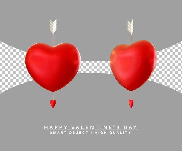 Прекрасное сердце с амуром стрелка день святого валентина 3d-рендеринг изолированы