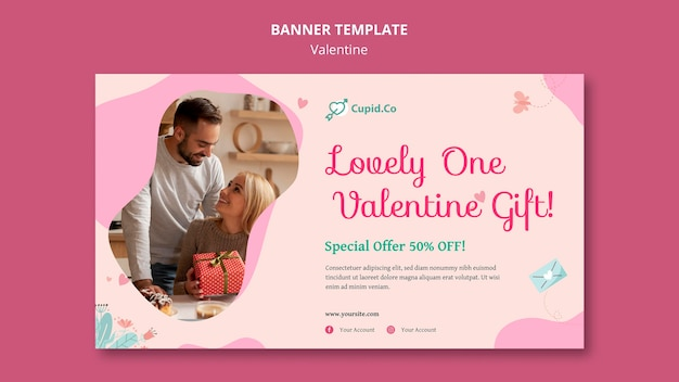 Lovely one valentine's day banner template