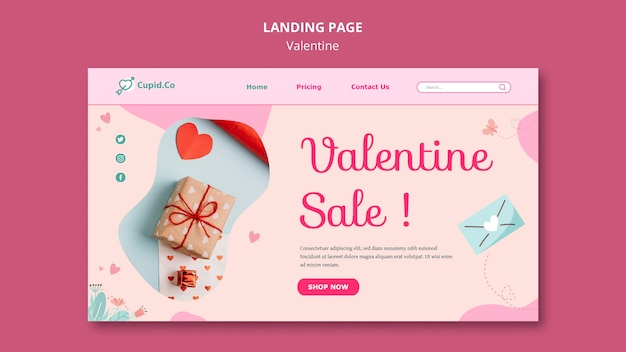 Lovely one valentine's day landing page template