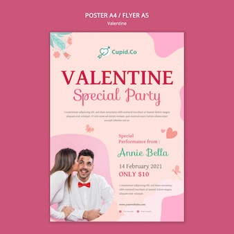 Lovely one valentine's day poster template