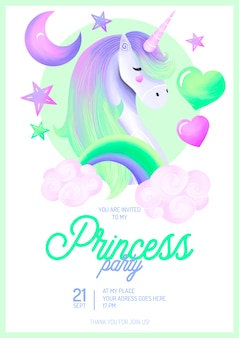 Lovely princess party invitation template