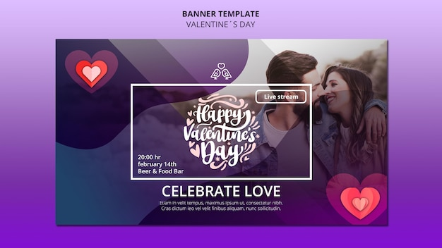 Lovely valentine's day banner template with photo