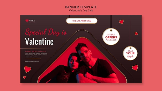 Lovely valentine's day banner template