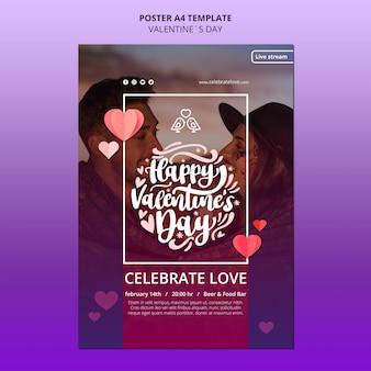 Modello di poster di san valentino adorabile con foto