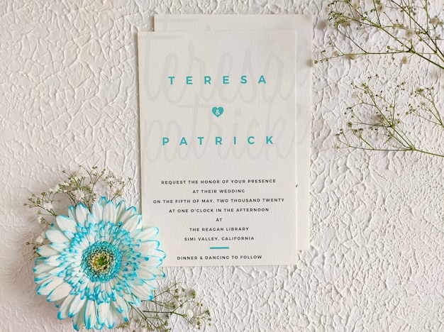 Lovely wedding invitation template mockup