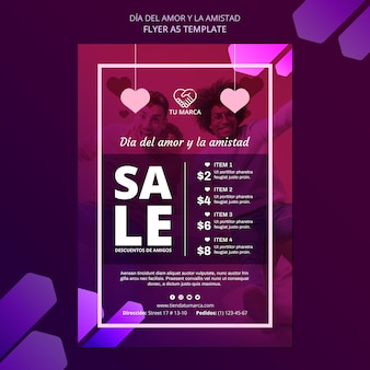 Lovers and sales flyer stationery template