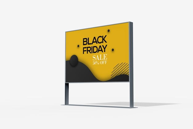 Low angle view of advertising stand mockup