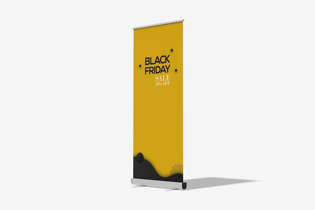Low angle view of roll up banner mockup