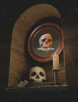 Low view halloween round frame with skull in a wall