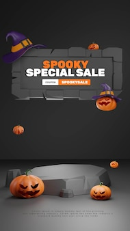 Lowpoly 3d halloween podium product display