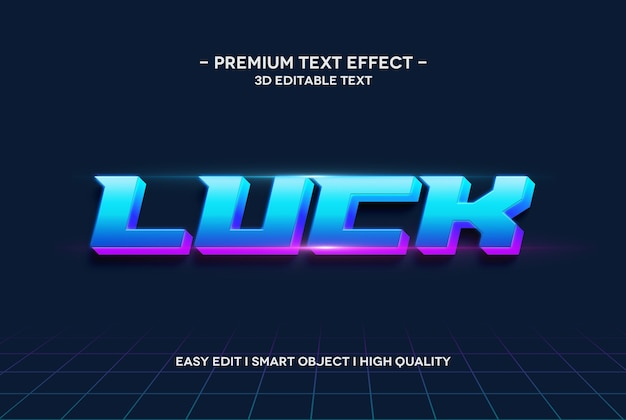 Luck 3d text style effect text template