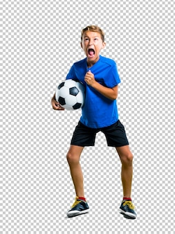 Lucky boy playing soccer