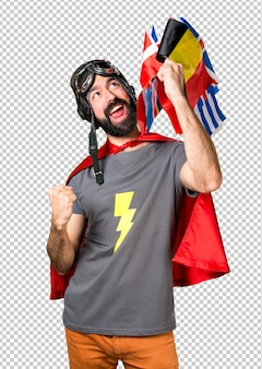 Lucky superhero with a lot of flags
