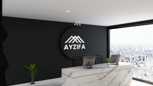 Светящийся 3d-макет стены с логотипом на современной минималистской стойке регистрации