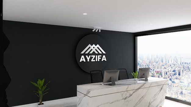 Luminous 3d logo wall mockup in modern minimalist reception desk