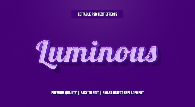 Luminous 3d text style effect premium psd