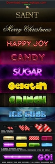 Luminous characters colorful fonts in PSD