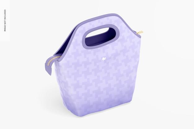 Mockup al sacco per il pranzo, vista isometrica a destra