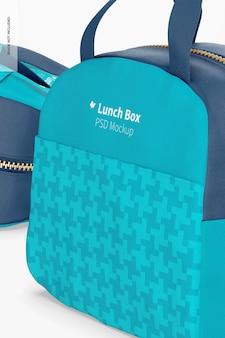 Сумка для обеда с передним карманом, макет, крупным планом