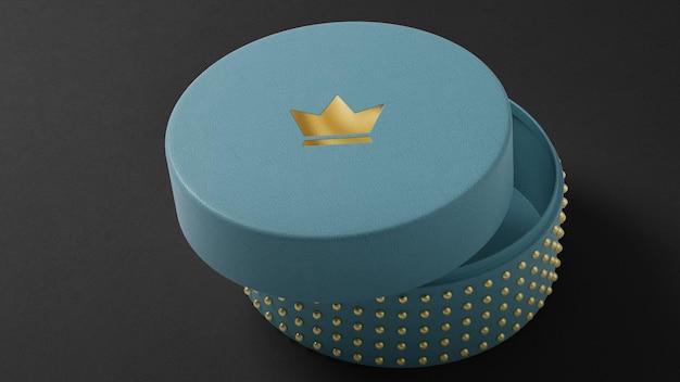 블루 보석 시계 상자에 고급스러운 로고 모형 3d 렌더링