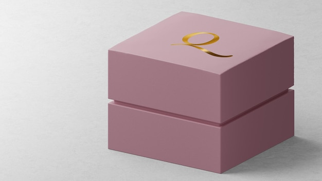 Luxurious logo mockup pink jewelry watch box