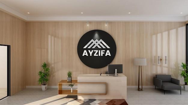 3d 브랜드 로고 벽 모형이있는 고급스러운 사무실 작업 공간
