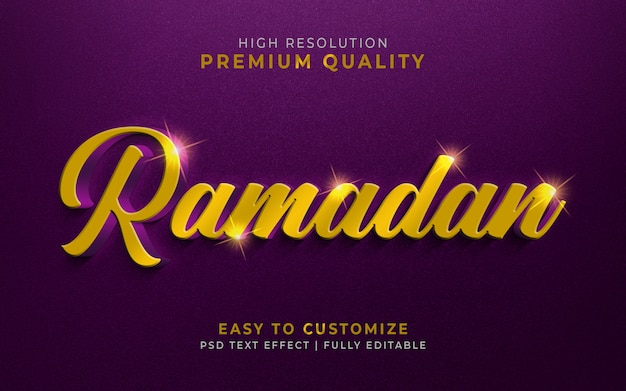Luxurious ramadan 3d text style effect mockup