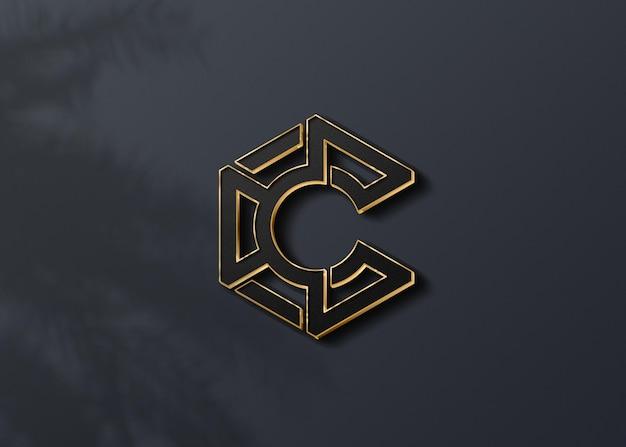 Роскошный 3d дизайн макета темного логотипа