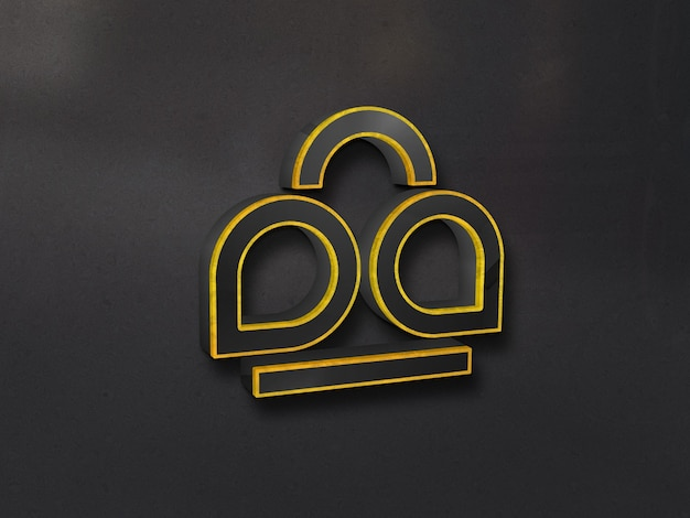 Luxury 3d glass logo mockup on wall with gold outlined