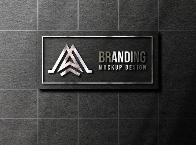 壁に豪華な3dロゴのモックアップ