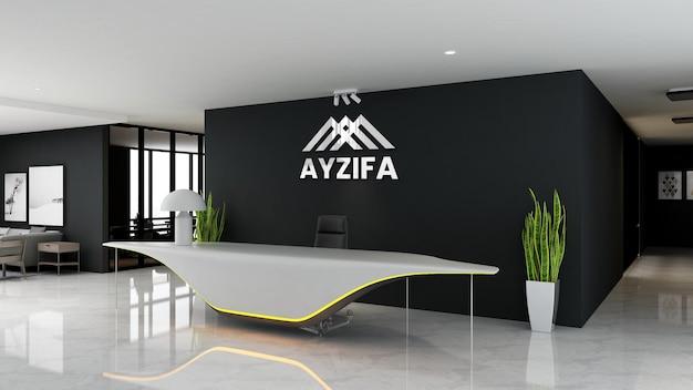 Luxury 3d logo mockup in the receptionist indoor office room