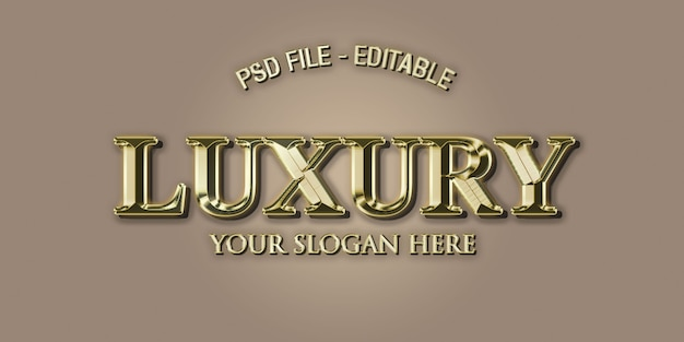 Luxury 3d text effect style in gold