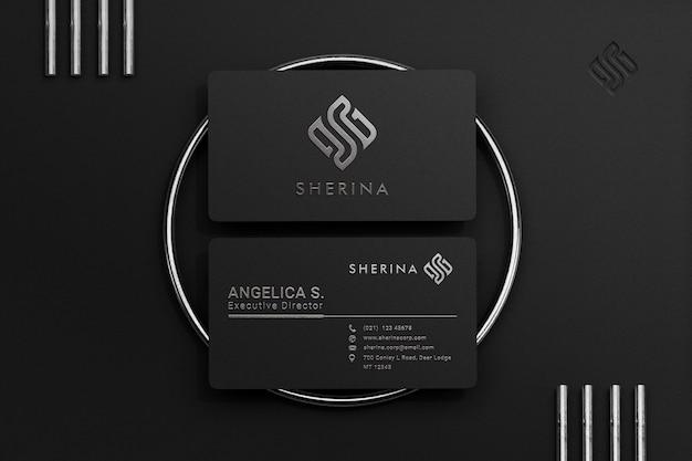 Роскошный и современный черный макет визитки